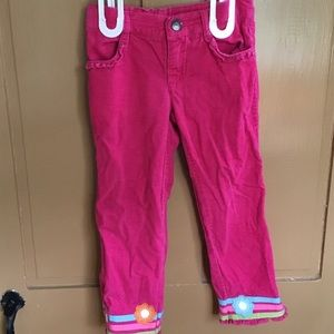 4T Girl Pink Corduroys With Floral Hems.
